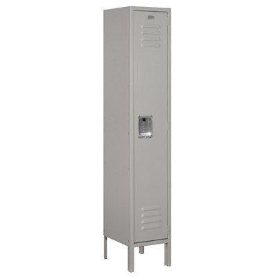 Standard Metal Single Tier 1 Wide 5 Feet High 12 Deep Gray Unassembled Locker