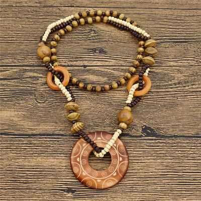 Vintage Wooden Beaded Pendant Necklace Long Sweater Chain Sun Carved Jewelry