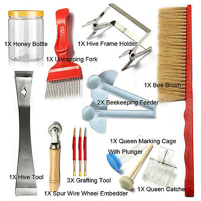 13pcs Bee Brush Uncapping Fork Queen Catcher Hive Tool Beekeeping Equipment Pack