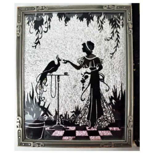 1920s ART DECO Era Framed SILHOUETTE of Peacock WOMEN w BIRDS Painted on Glass