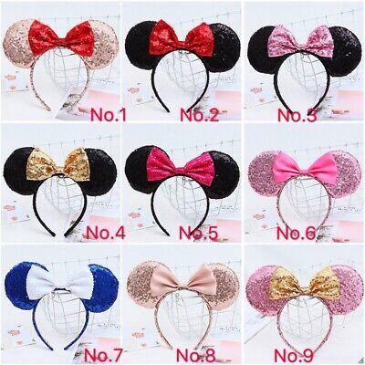 Minnie Mouse Ear Headband Halloween (Minnie Mouse Ears Headband  Sparkle Shimmer  Sequin Bow black red pink)
