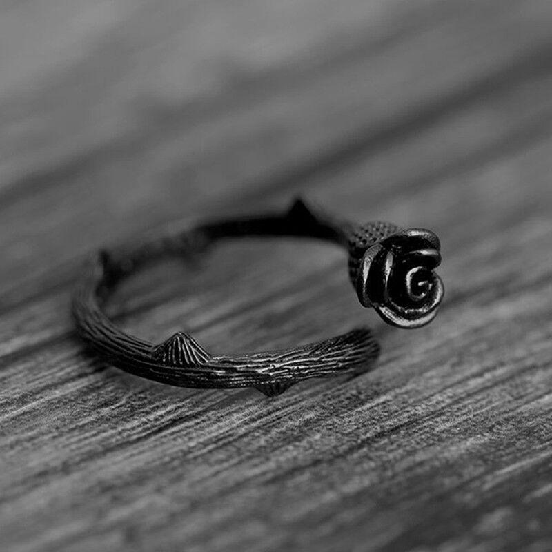 Fashional Vintage Black Rose Adjustable Rings Band Women Exq
