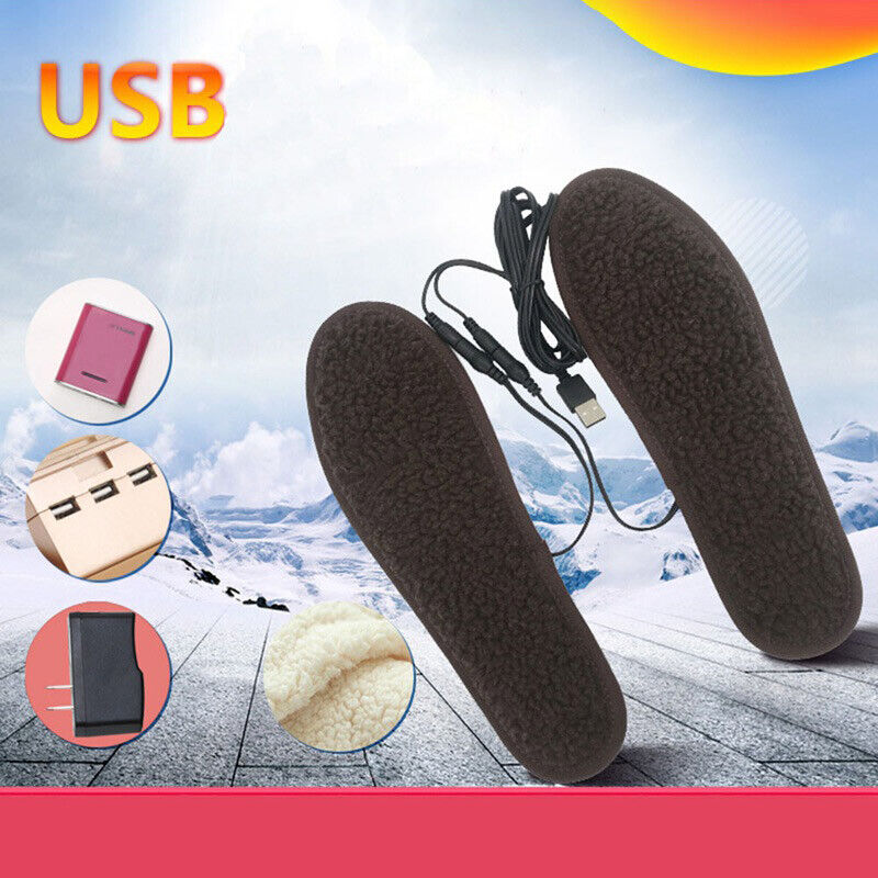 Lot Electric Heated Shoe Insoles Warm Socks Feet Heater USB Foot Winter Pads USA