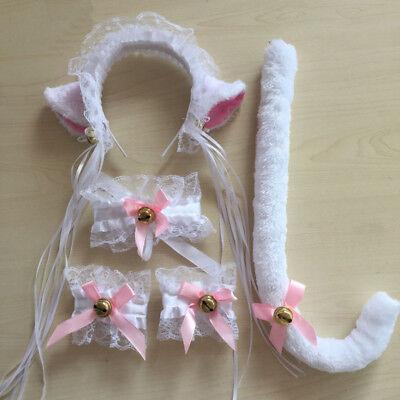 5pcs Anime Cosplay Halloween Hair Headwear Fox Cat Ears Headband+Tail Wristbands](Cat Halloween Hair)