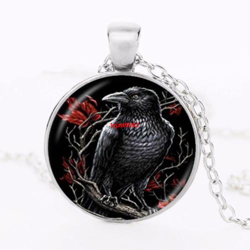 Black Raven Gothic Crow Cabochon Tibetan silver Glass sweate