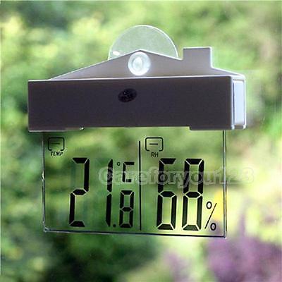 Digital LCD Window Thermometer Hygrometer Indoor/Outdoor Weather Humidity Meter