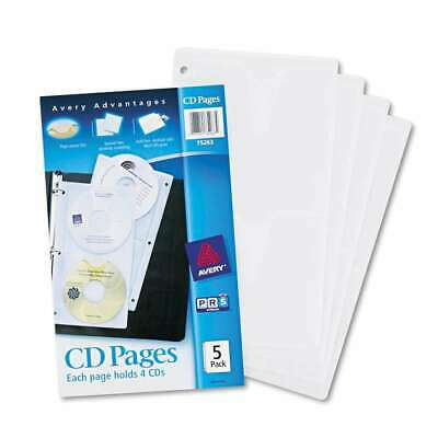 Avery Two-sided Cd Organizer Sheets For Three-ring Binder 5pac 077711752634