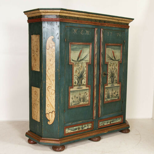 Original Painted Antique German Armoire Dated 1774