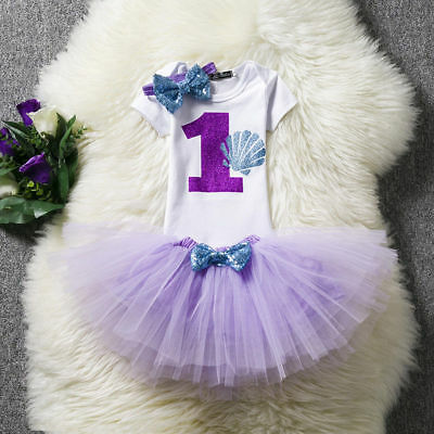 Baby Girl 1st Birthday Party Dress Outfits Sets Little Mermaid Princess Costume ](Little Mermaid 1st Birthday Party)