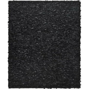 Black Leather shag rug - strips of leather
