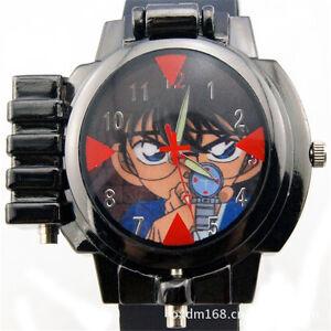 Anime Detective Conan Infrared Glass Red Light Analog Boy Wrist Watch Sale BA