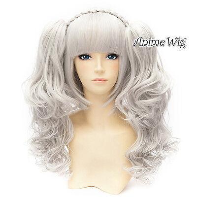 60cm Halloween Cosplay Perücke Wig Lolita Harajuku Silber&Weiß +2Pferdeschwanz (Halloween 2 Weißen Pferd)