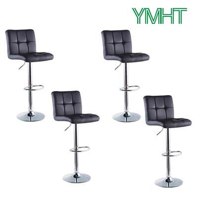 Metal Black Counter Stools - Set of 4 Bar Stools Adjustable Swive PU Leather Counter Heightl Pub Chairs Black