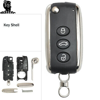 for Bentley Continental GT GTC 2004-2014 Flip Remote Key Shell Case Fob 3 Button