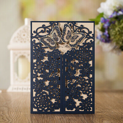 Butterfly Laser Cut Invitations Cards Envelope Set Wedding Shower Birthday - Butterfly Invitations