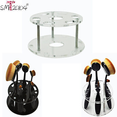 6 Hole Oval Makeup Brush Holder Drying Rack Organizer Cosmetic Stand Shelf Tool