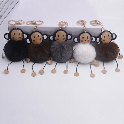 Keyring Soft Faux Fluffy Rabbit Monkey Handbag Pendant Charm PomPom - Pom Pom Monkey