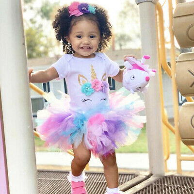 Baby Girl 1st Birthday Dress Outfits Sets Unicorn Party Rainbow Tutu Clothes