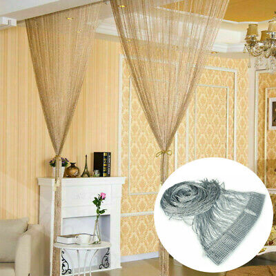 Glitter String Door Curtain Beads Room Dividers Beaded Fringe Window Panel - Silver Glitter Curtains