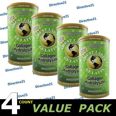 Great Lakes Gelatin Collagen Hydrolysate 16 Oz Beef Kosher   Protein   4 Count