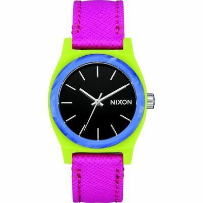Nixon Women's Medium Time Teller A11723152-00 31mm Black Dial Leather Watch