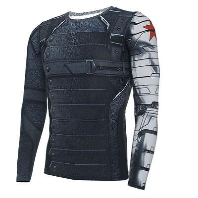 Cosplay Winter Soldier T-Shirt Bucky Barnes 3D T-Shirts Captain America Costumes - Captain America Winter Soldier Shirt