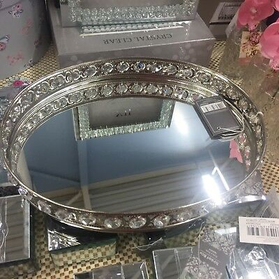 Vanity Tray Mirror Display Oval with Crystals  - Mirrored Stylish Storage