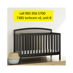 New - Finley 4-in-1 Convertible Crib - Slate Grey/Sand​