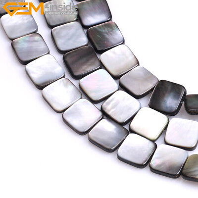 Shell Flat Square Beads (Natural Flat Square Black Lip Shell Loose Beads Gem Stone For Jewelry Making)