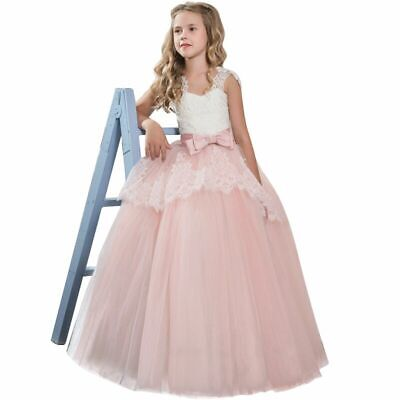Girls Party Dresses Size 6 (US Stock Size 6 to 14 Pink Lace Flower Girl Dress Party Long Wedding Prom)