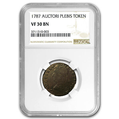 1787 Auctori Plebis Token VF-30 BN NGC