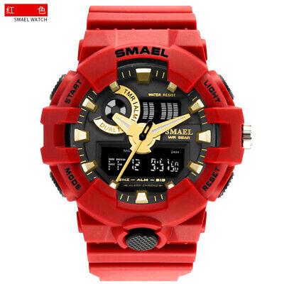 SMAEL Men's Military Digital LED Shock Sport Alarm Analog Dual Time Quartz Watch Dual Time Quartz Watch
