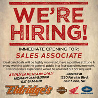 Sales Associate - Apply in Person ONLY