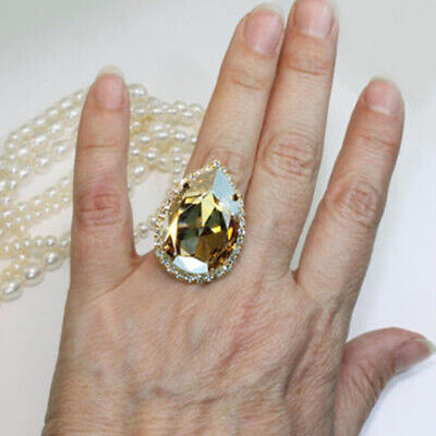 Heart Shaped Crystal Ring (Women's Big Heart-shaped Zircon Ring Crystal Rhinestone Elegant Jewelry Size6-10 )