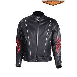 Mens Leather Motorcycle Racer Jacket With Flames SMOKIN HOT