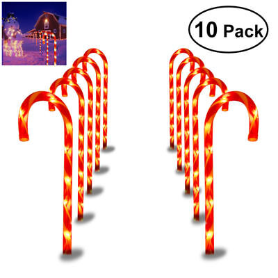 10X CHRISTMAS PATHWAY CANDY CANE Stakes Walkway Light Pre-Lit Outdoor Yard Decor