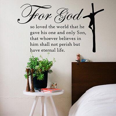 ADESIVI IN VINILE MURO PARETE ARTE BIBBIA Citazione John 3; 16 da camera letto