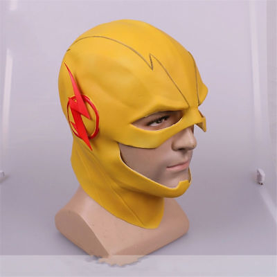 USA Reverse Flash Mask The Flash Cosplay Yellow Latex Full Head Adult Halloween - Flash Mask
