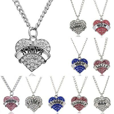Fashion Women Heart Crystal Rhinestone Mom Family Chain Pendant Necklace Charm