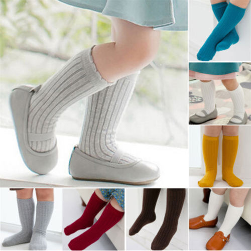 Quality Soft Cotton Baby Kids Toddlers Girls Knee High Socks Tight Leg Stockings