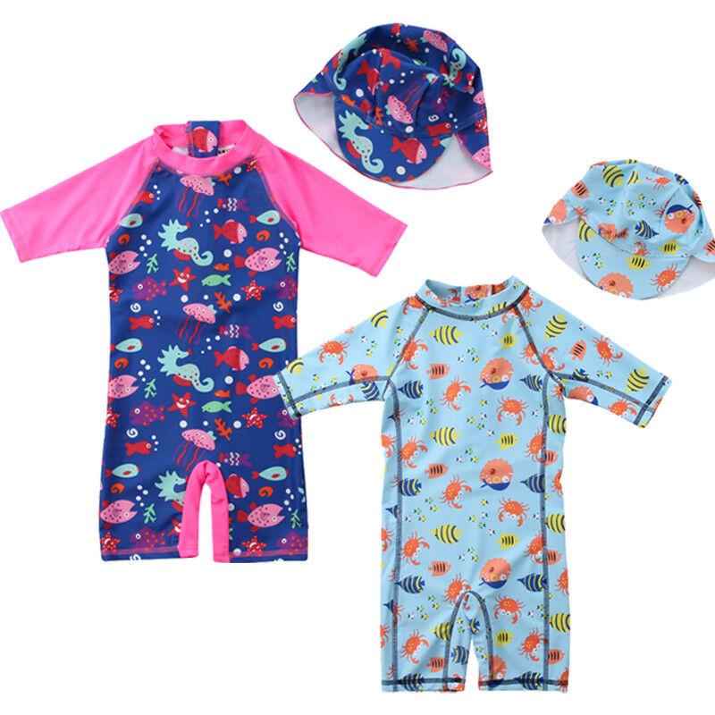 Toddler Kids Baby Boy Girl Rash Guard Sun Protective Surf Beach Cap Swimwear Mon