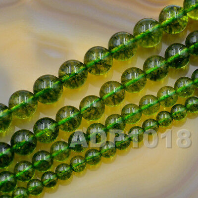 - 6mm 8mm 10mm 12mm Smooth Round Green Peridot Gemstone Loose Beads 15.5