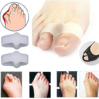 как выглядит Ортопедические стельки 1Pair Women 2 Hole Gel Toe Straighteners Separator Bunion Corrector Pain Relief фото