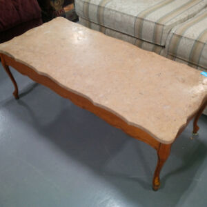 Stone Top coffee table with wooden base