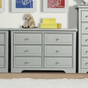 Graco 03546-31F Brooklyn Transitional 6-Drawer Nursery Dresser - Pebble Grey