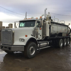 Freightliner tri drive vac truck clean tank coded