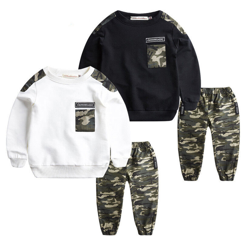 2Pcs children Boys Tops + Pants Outfits Sets Camouflage Casual Baby Kids Clothes
