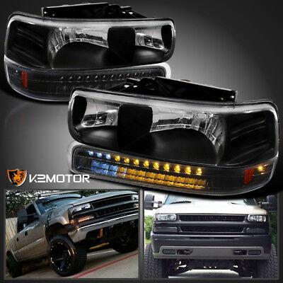 2002 Chevy Suburban - 99-02 Chevy Silverado 00-06 Tahoe Suburban Black Headlights+LED Bumper Lights
