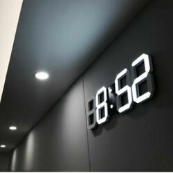 Modern 3D Alarm Clock LED Display Digital Snooze Table Wall Hanging Home Decors