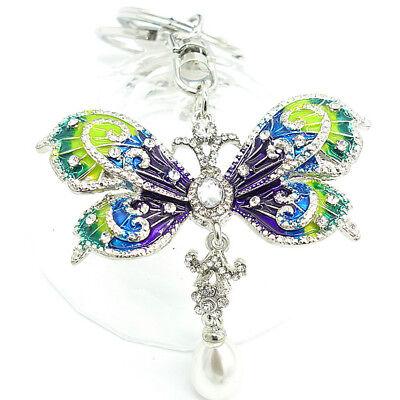 Key Chains butterfly  Keyring Handbag Rhinestone Crystal Charm Pendant Necklace